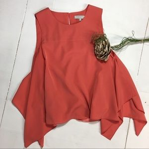 1. State | coral sleeveless blouse tanktop high-lo